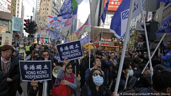 China   Demokratiebewegung in Hongkong geht an Neujahr auf die Straße (picture-alliance/dpa/AP Photo/K. Cheung)