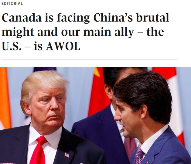 加拿大遭中国强权施压 盟友美国坐视不理