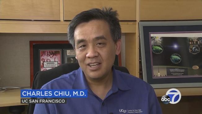 舊金山州大醫師邱華彥與生化科技公司Mammoth Biosciences使用基因編輯技術CRISPR製作檢測新冠狀病毒的快速檢測法。(電視新聞截圖)