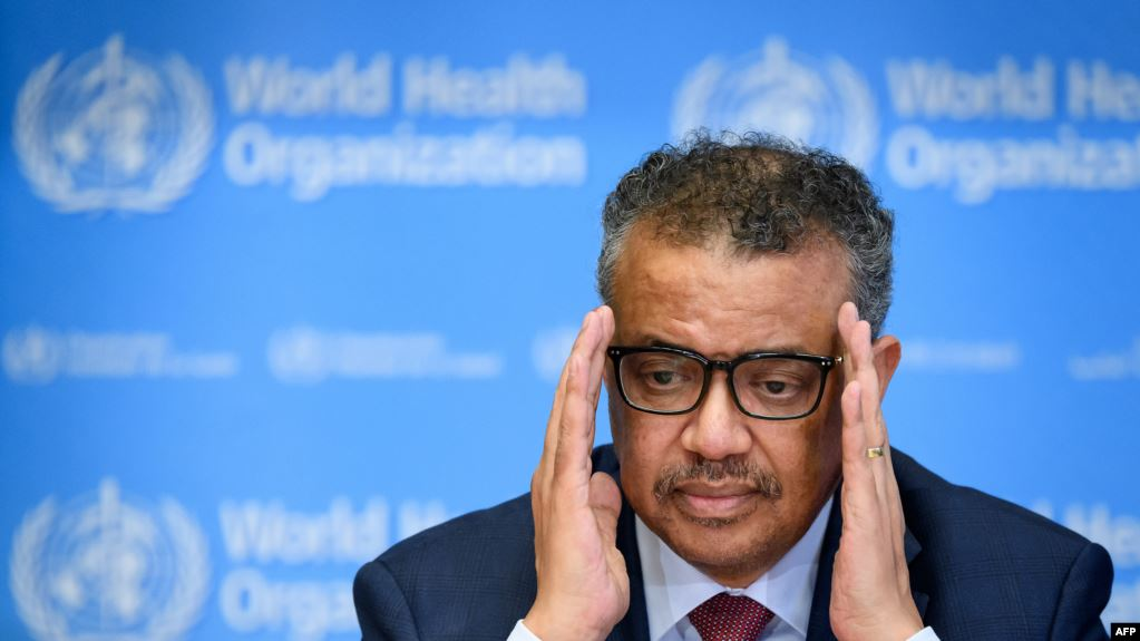世界卫生组织总干事谭德塞在日内瓦世卫组织总部出席关于新型冠状病毒的每日新闻发布会(2020年3月6日)。