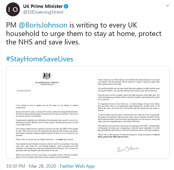 英首相�@民�公�_信:疫情好�D之前先���得更糟