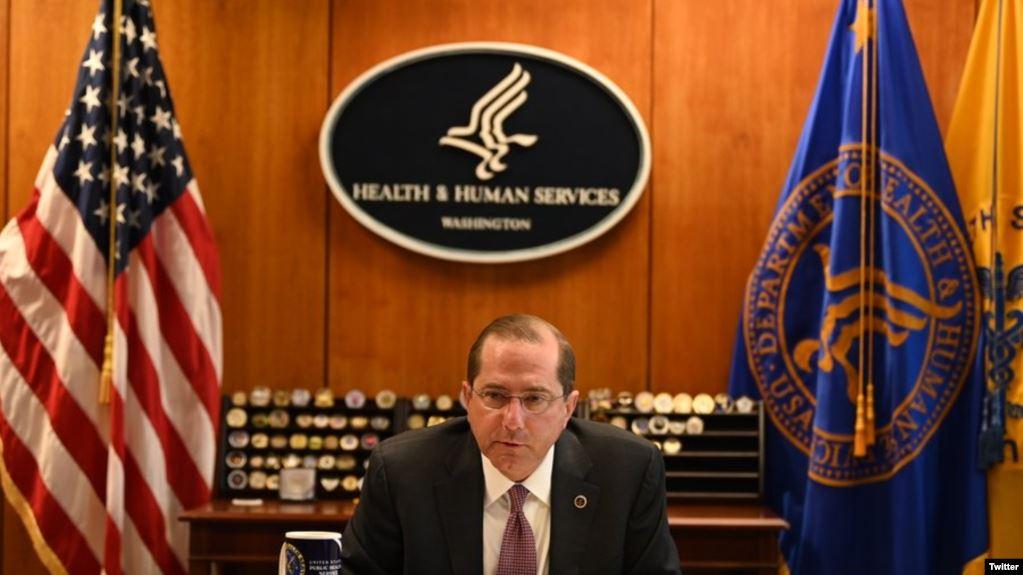 美国卫生部长阿扎尔2020年4月27日与台湾卫生福利部部长陈时中通电后讨论新冠肺炎疫情(阿扎尔推特帐号)