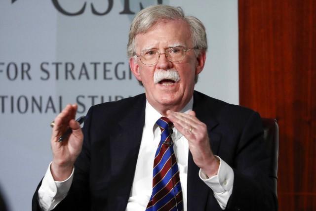 图为2019年9月30日美国前国家安全顾问博尔顿在华盛顿战略与国际研究�心发言。(AP)