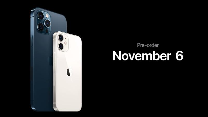 iPhone 12 mini及iPhone 12 Pro Max將於11月6日開始預訂。