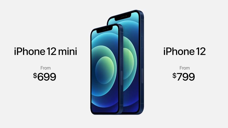 iPhone 12開價$799美金起,iPhone 12 mini開價$699美金起。