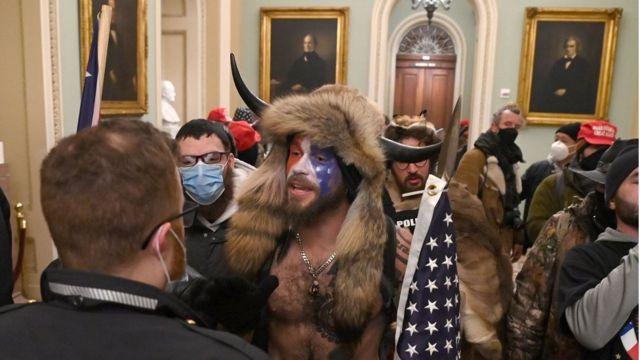 Protester inside Congress