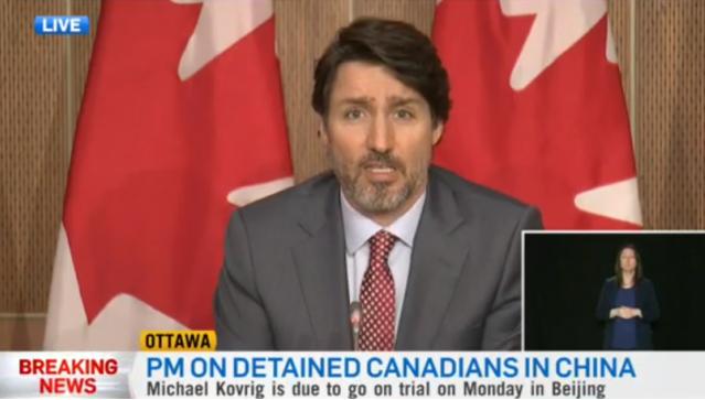 加拿大总理特鲁多谴责加人在中国审讯缺乏透明