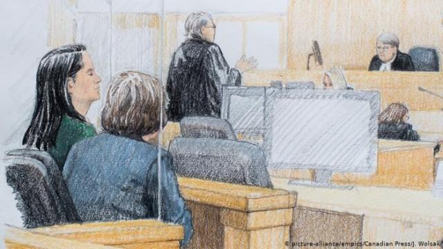 Kanada Anhörung Meng Wanzhou, Huawei Skizze aus dem Gericht