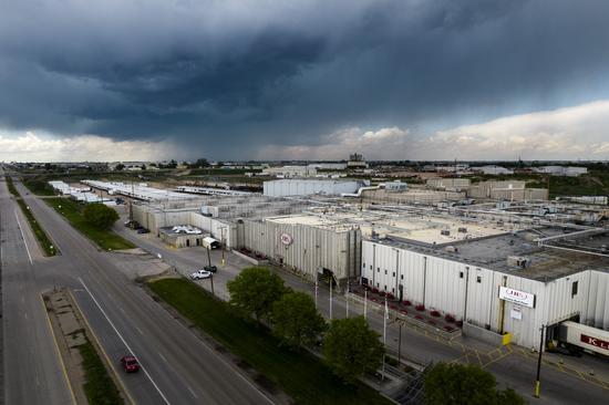 6月1日,美国科罗拉多州格里利的JBS牛肉加工厂