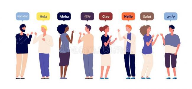 用母语问候语-国际多种族朋友演讲你好-外语,男女打招呼-外语,男女互相欢迎的媒介概念-166861876.jpeg