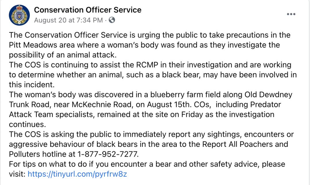 恐怖!加拿大女子农场摘蓝莓意外死亡 疑似被动物活活咬死!