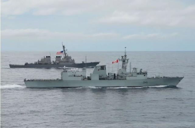 加拿大海军跟美国军舰穿越台湾海峡,中国谴责