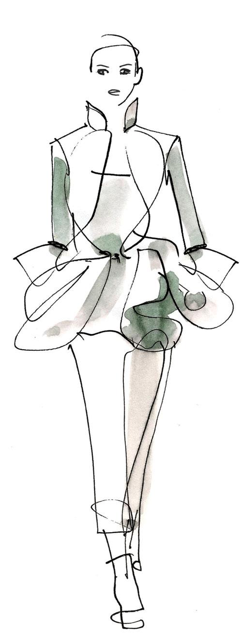 设计手稿素描图指的服装设计师在设计时通过手绘   婚纱设计