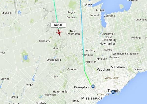 多伦多-香港ac15航班机件故障安全折回