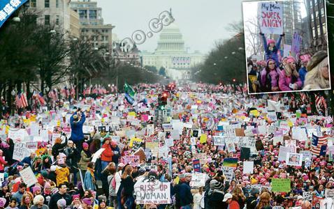 50万妇女怒显粉红力量 示威川普报以叫骂