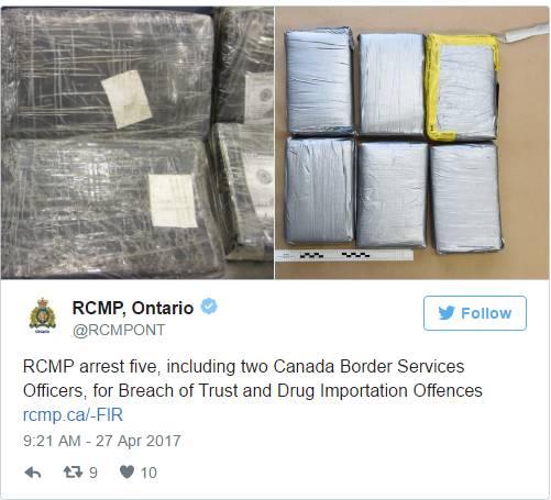 知法犯法!2名加拿大海关人员走私可卡因被抓