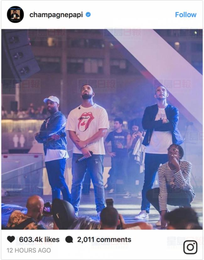 饶舌歌手Drake惊喜现身国庆日庆祝活动