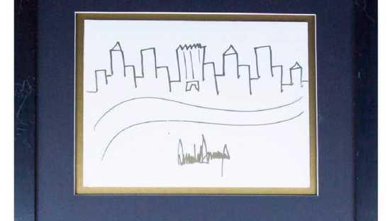 这是川普画笔下的纽约轮廓 9千美元起拍了