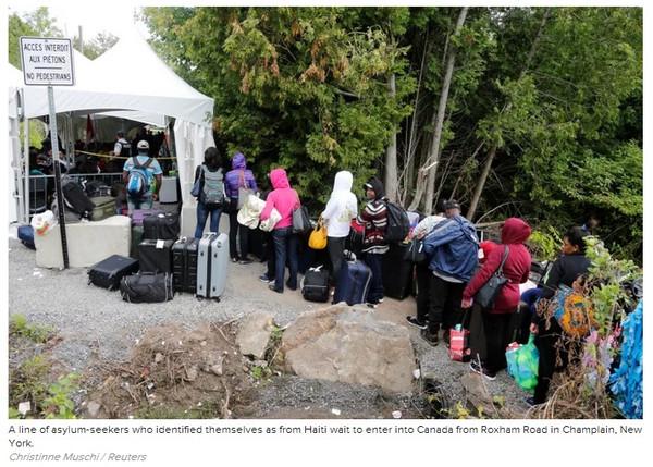 """""""欣然接受逮捕 在美无证客涌向加拿大求庇护""""的图片搜索结果"""