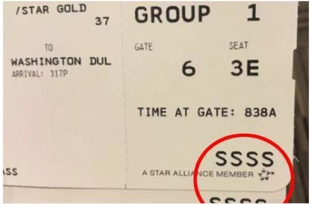 """赴美登机牌上如果出现""""SSSS"""" 说明你被盯上了"""