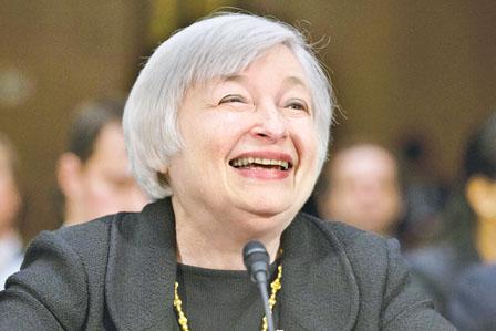 耶伦密切留意通胀率 看好美国经济年底反弹