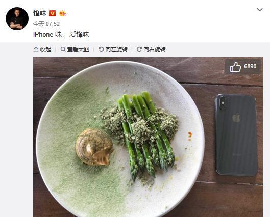 谢霆锋晒新手机配芦笋 网友猜是王菲拍的