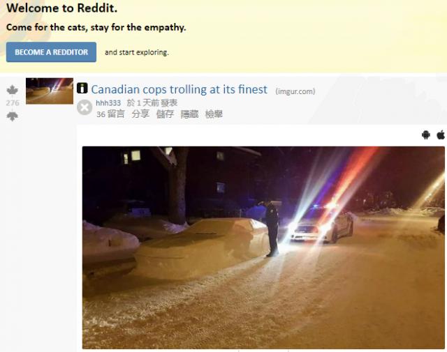 哈哈哈!看加拿大人用雪堆的超跑 连警察也上当