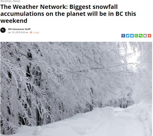地球最大降雪本周末将突袭BC 这些地方是重灾区!