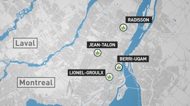 蒙特利爾的首批4個大麻店將都設在地鐵站附近