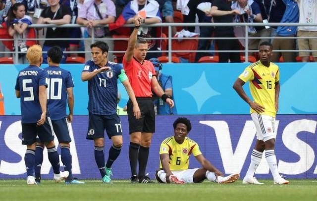 世界杯首张红牌诞生 日本力克对手 亚洲队首胜