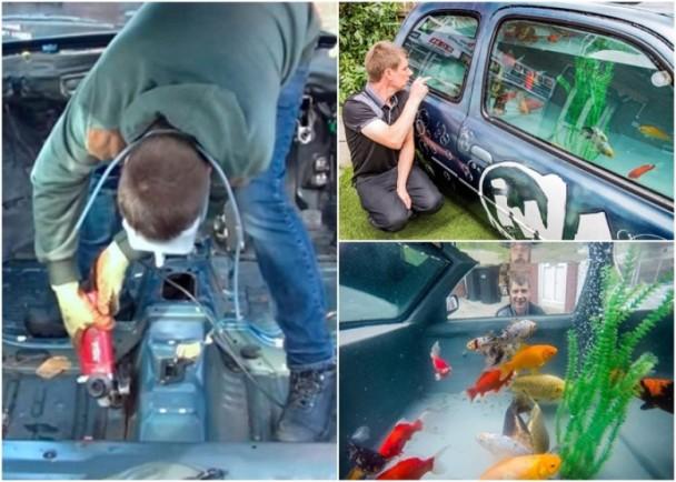 吓你一跳!男子花数月打造了一个汽车鱼缸