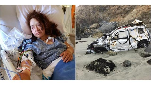 女子加州开车坠崖 失踪一周靠喝水箱水奇迹生还