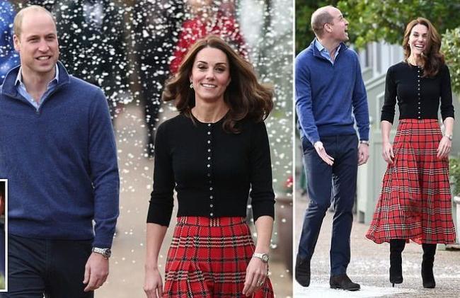凯特王妃瘦成麻杆身材?穿1万块红格裙喜迎圣诞