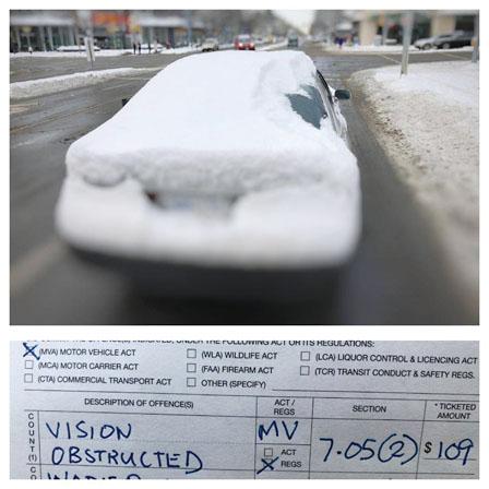 只因汽车积雪 司机接到109元罚单