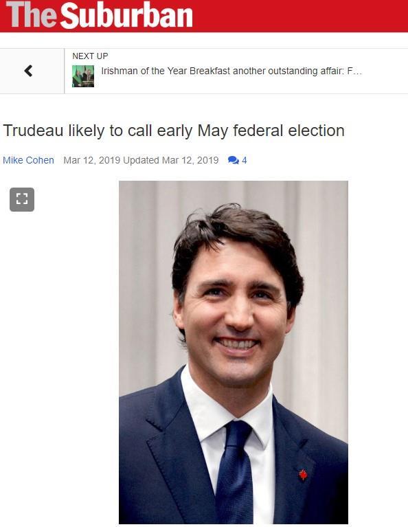 魁媒:杜鲁多可能宣布今年5月提前大选