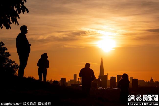 唯美!日落下的格林威治公园
