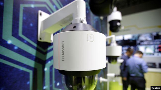 华为监控摄像机2019年5月16日在天津举行的世界智能大会上展出。
