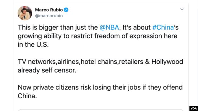 美国共和党籍联邦参议员马可・鲁比奥(Marco Rubio)星期一(10月7日)接连就休斯顿火箭队总经理达里尔・莫雷的推文事件发声。
